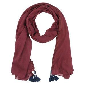 Cotton tassel oversize scarf wrap red maroon navy